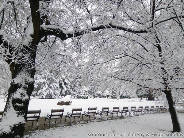 Soproni Erzsébet-kert télen, havasan.