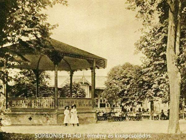 Sörház és zenepavilonja az Erzsébet-kert régi képeslapján.